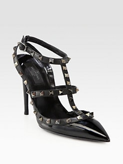 Valentino - Noir Patent Leather Rockstud Slingback Pumps