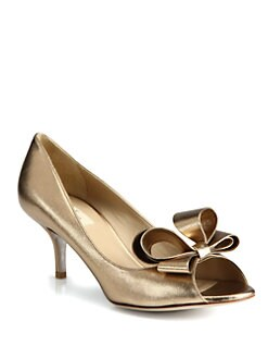 Valentino - Couture Metallic Leather Bow Pumps