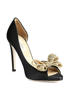 Valentino - Satin Jeweled Bow d'Orsay Platform Pumps