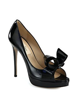 Valentino - Couture Patent Leather Bow Platform Pumps