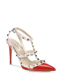 Valentino - Patent Leather Rockstud Slingback Pumps