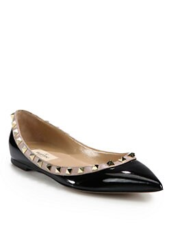 Valentino - Rockstud Patent Leather & Leather Ballet Flats