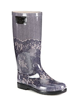 Valentino - Lace-Printed Rubber Rain Boots