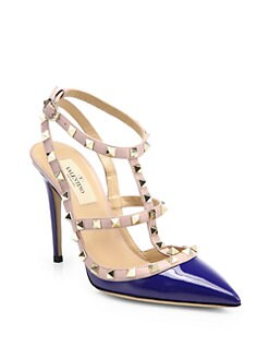 Valentino - Rockstud Patent Leather Ankle Strap Pumps
