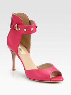 Valentino - Rockstud Leather Ankle Strap Pumps