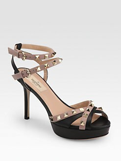 Valentino - Rockstud Leather Ankle Strap Sandals