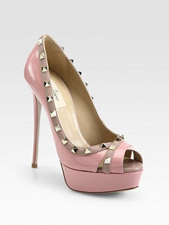 Valentino - Rockstud Crisscross Patent Leather Pumps
