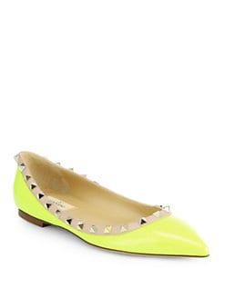 Valentino - Rockstud Patent Leather Ballet Flats
