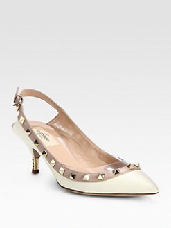 Valentino - Rockstud Leather Slingback Pumps