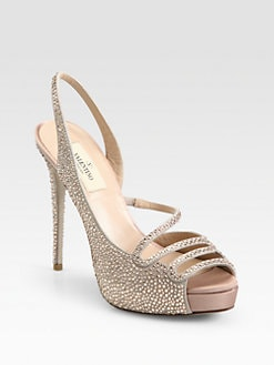 Valentino - Crystal-Coated Suede Slingback Pumps