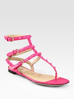 Valentino - Rockstud Leather Gladiator Thong Sandals