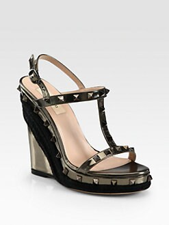 Valentino - Rockstud Metallic Leather Wedge Sandals