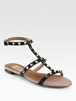 Valentino - Rockstud Leather Gladiator Sandals