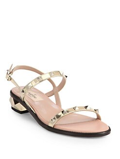 Valentino - Rockstud Metallic Leather Double-Strap Sandals