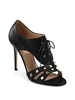 Valentino - Rockstud Leather Lace-Up Ankle Boots