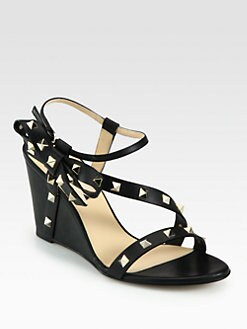 Valentino - Rockstud Leather Bow Wedge Sandals