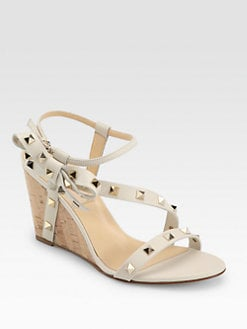 Valentino - Studded Leather Side Bow Cork Wedges