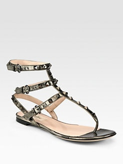 Valentino - RockStud Gladiator Metallic Leather Thong Sandals