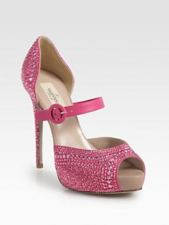 Valentino - Glam Crystal-Coated Suede Platform Pumps