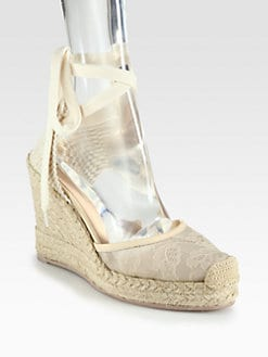 Valentino - Glamorous Lace & Leather Espadrille Wedges