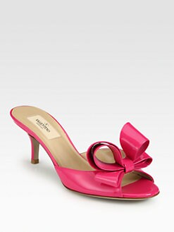 Valentino - Couture Patent Leather Bow Slides