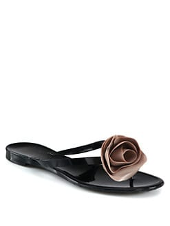 Valentino - Rose-Detail Thong Sandals