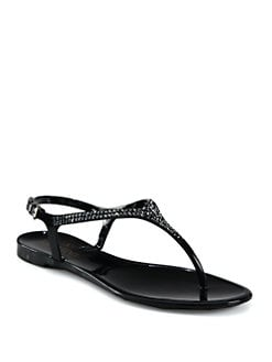 Valentino - Glam Crystal-Detail Thong Sandals