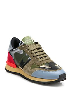 Valentino - Mixed Media Camouflage Sneakers