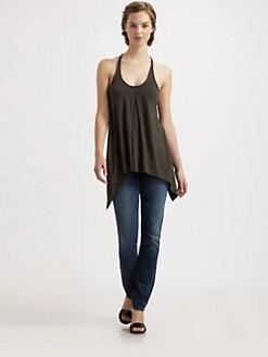 9|15 - Faux Leather-Trimmed Draped Jersey Top