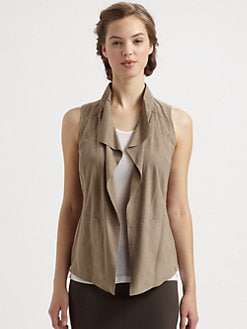 9|15 - Draped Suede & Knit Combo Vest
