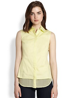 9|15 - Sleeveless Poplin/Silk-Chiffon Blouse