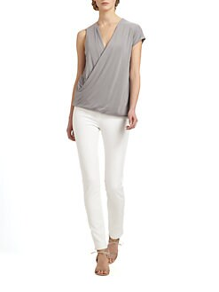 9|15 - Leather-Detail Draped Top