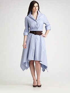Lafayette 148 New York, Salon Z - Piano-Stripe Belted Dress