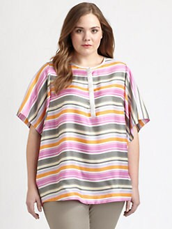 Lafayette 148 New York, Salon Z - Silk Striped Teri Top