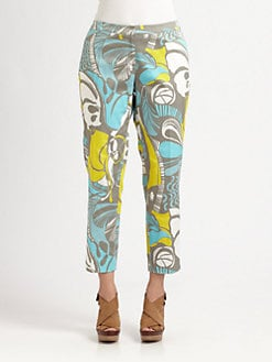 Lafayette 148 New York, Salon Z - Ibiza-Print Ankle Pants