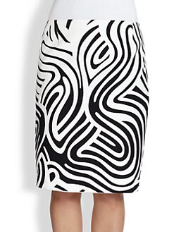 Lafayette 148 New York, Sizes 14-24 - Printed Cotton Modern Slim Skirt