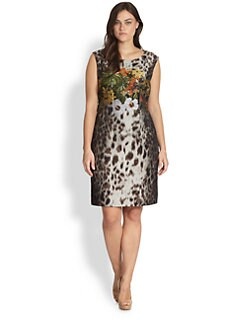 Lafayette 148 New York, Sizes 14-24 - Savannah Mixed-Print Sheath Dress