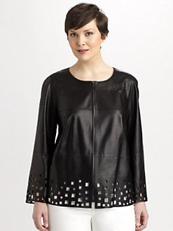 Lafayette 148 New York, Salon Z - Hand-Cut Leather Jacket