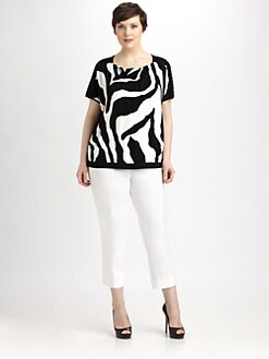 Lafayette 148 New York, Salon Z - Zebra-Jacquard Knit Top