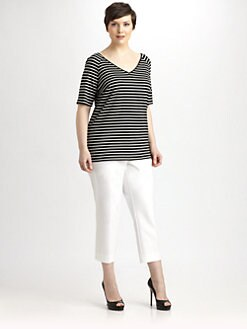 Lafayette 148 New York, Salon Z - Striped V-Neck Tee