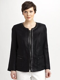 Lafayette 148 New York, Salon Z - Leather-Trim Neve Jacket