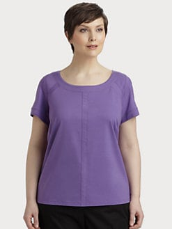 Lafayette 148 New York, Salon Z - Raw-Edge Seamed Tee