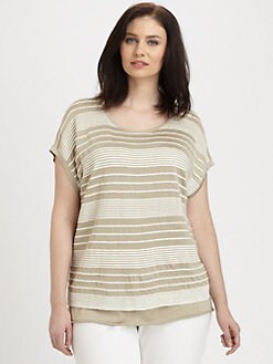 Lafayette 148 New York, Salon Z - Pintucked-Stripe Tunic