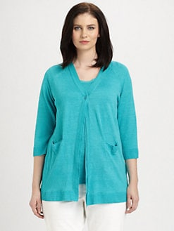 Lafayette 148 New York, Salon Z - Lustrous Linen Single-Button Cardigan