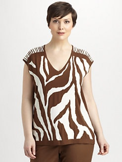 Lafayette 148 New York, Salon Z - Jacquard Knit Zebra Top