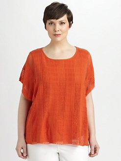 Lafayette 148 New York, Salon Z - Layered Linen-Blend Knit Top
