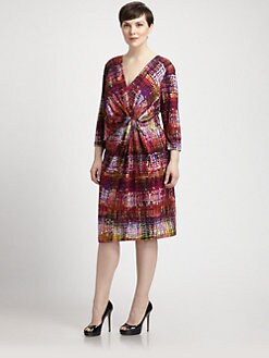 Lafayette 148 New York, Salon Z - Printed Twist-Front Wrap Dress