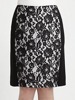Lafayette 148 New York, Salon Z - Priscilla Lace-Inset Skirt
