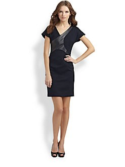 BOSS Black - Giani Leather-Trimmed Dress
