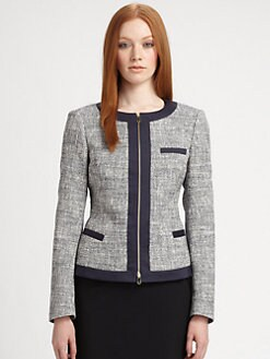 BOSS Black - Zip-Front Tweed Jacket